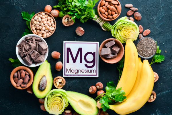 foods containing magnesium including bananas, nuts and beans