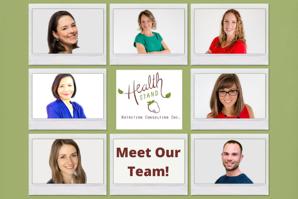 team of seven dietitians at health stand nutrition in calgary