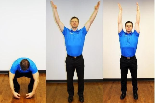 A man wearing black dress pants and a royal blue short sleeve golf shirt demonstrates breathing squats in a series of three photos. In the first he is crouched over, then arms raised in a v above his head, then leaning back slightly
