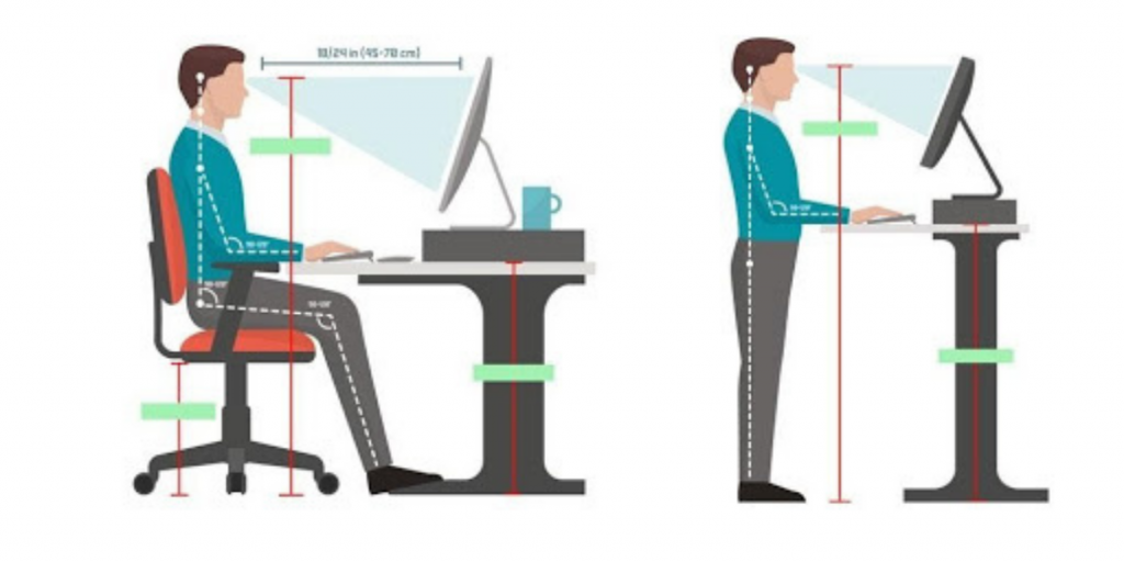 an infographic showing the proper ergonomic sitting and standing position at a workstation