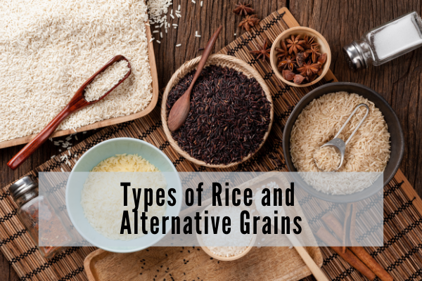 various bowls of different types or rice shot from above