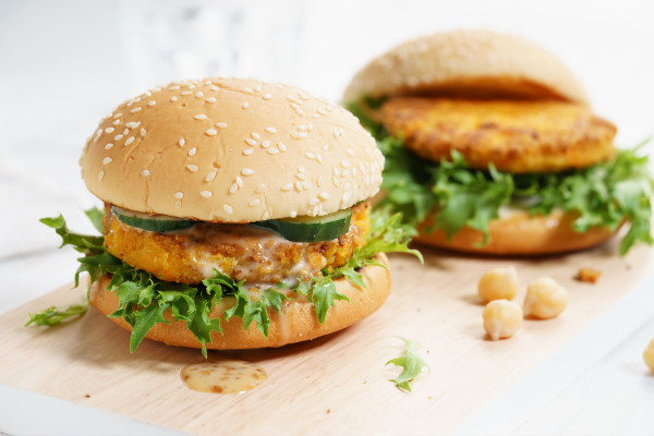 two chickpea burgers with lettuce