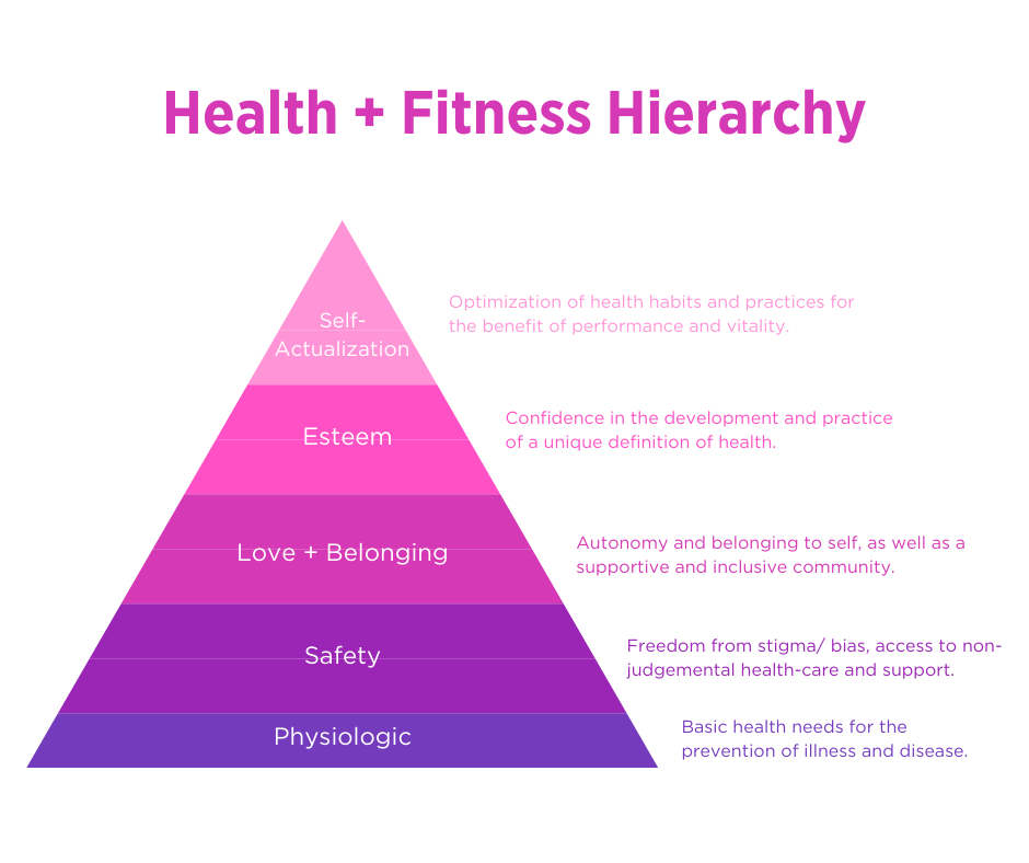 health and fitness heirarchy pyramic in shades of purple