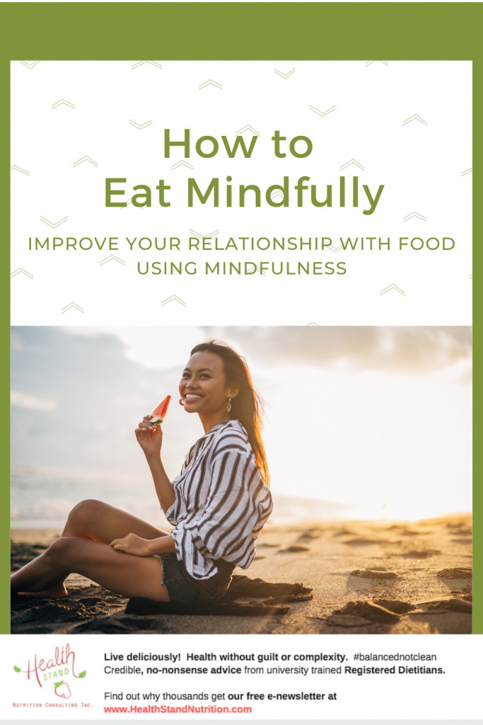 how to eat mindfully pinterst image of woman eating watermelon on a sunny beach