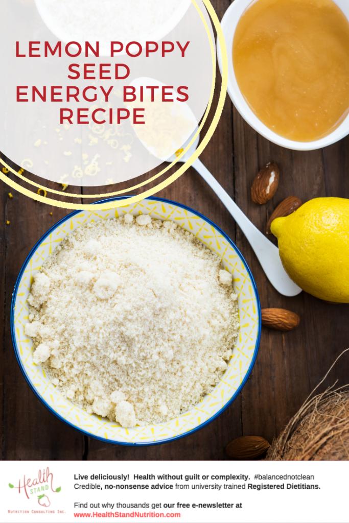 ingredients for lemon poppy seed bites including shredded coconut, lemons, almonds and honey