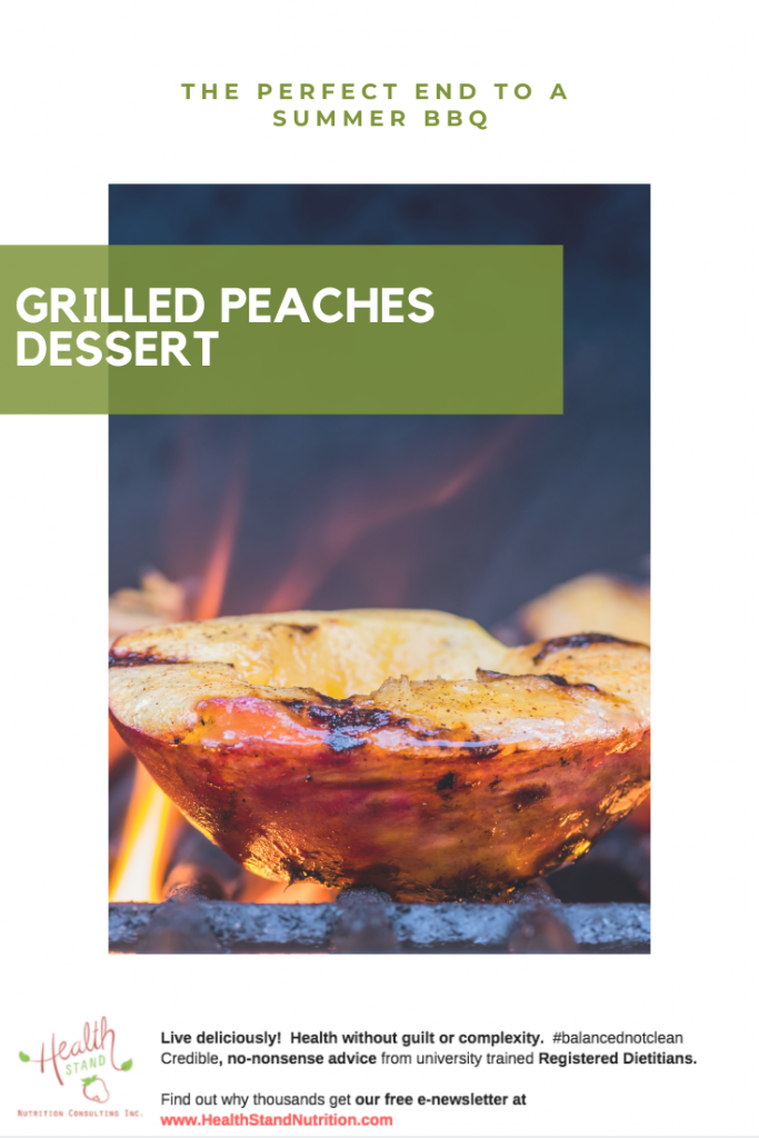 peach halves grilled on a fiery bbq
