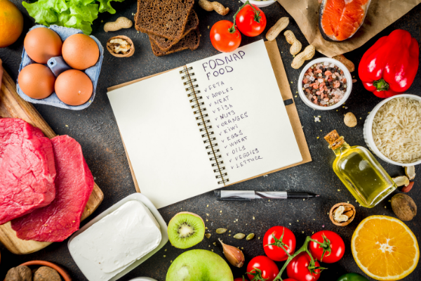 Foods permitting in the Low fodmap diet are laid in a circle around a spiral notebook open to a page listing allowed foods