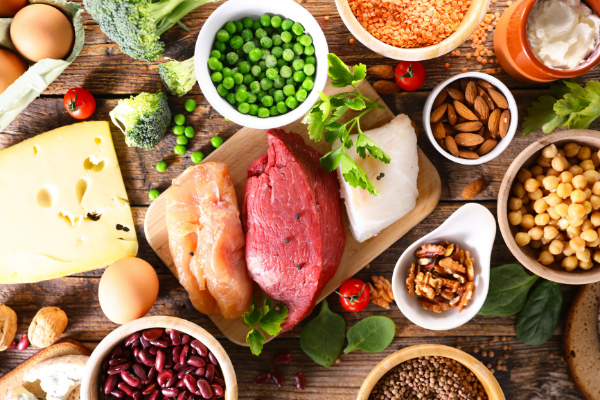 high protein foods including meat, cheese, beans and nuts
